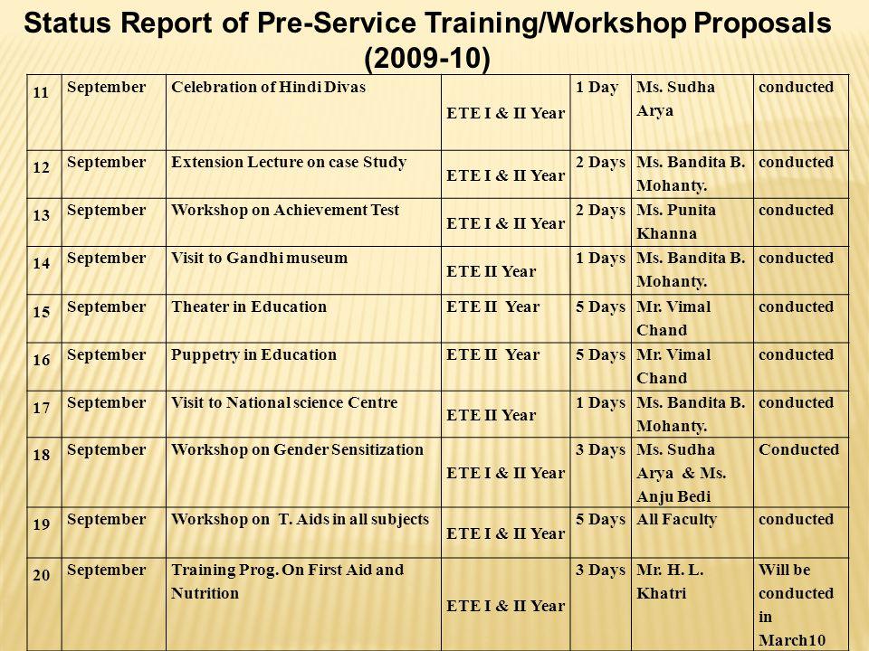 CALENDAR FOR PSTE (2010-11 ) April 2010   Classes for E.T.E.