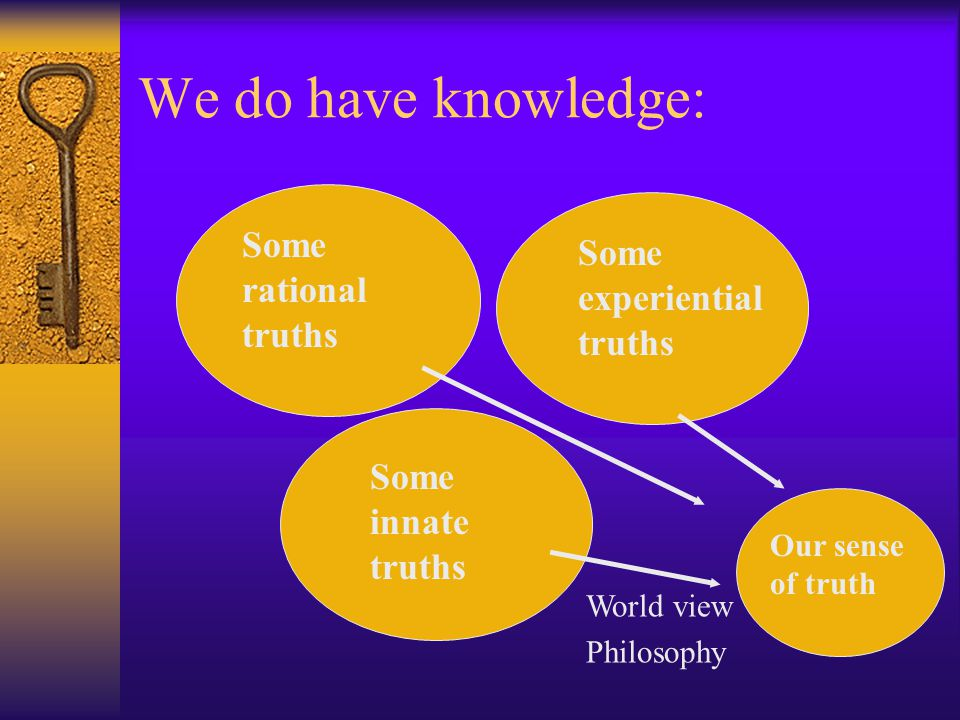 We do have knowledge: Some rational truths Some innate truths Some experiential truths Our sense of truth World view Philosophy
