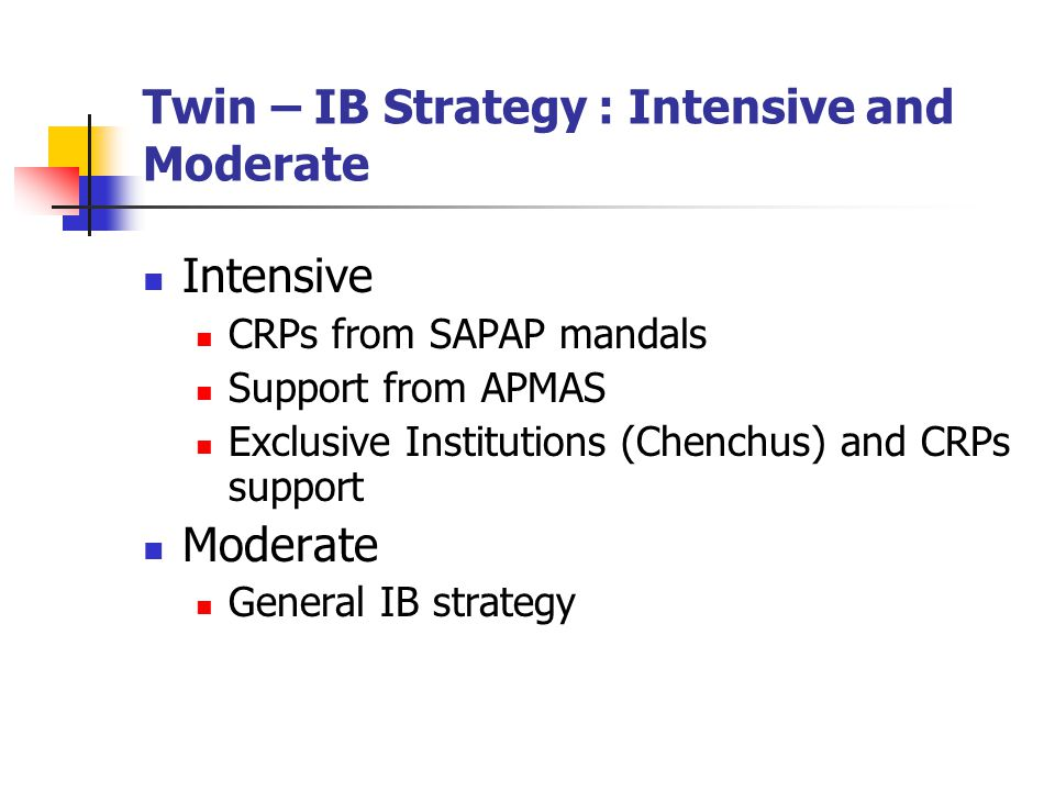 Twin – IB Strategy : Intensive and Moderate Intensive CRPs from SAPAP mandals Support from APMAS Exclusive Institutions (Chenchus) and CRPs support Moderate General IB strategy