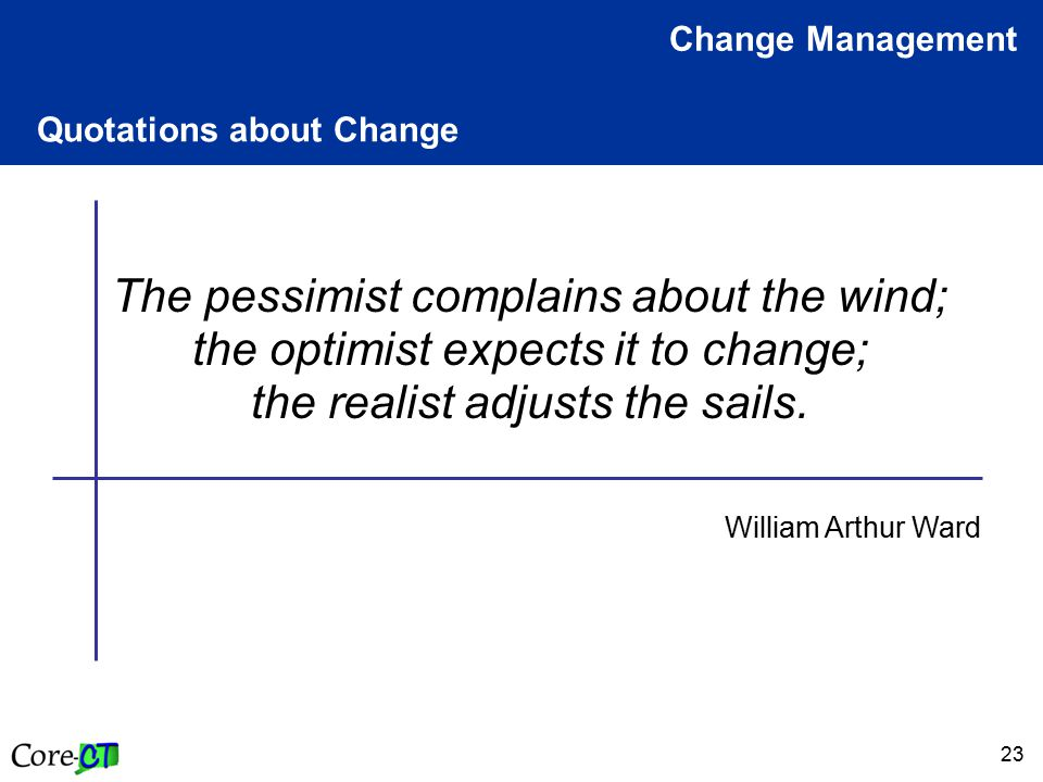 23 Quotations about Change Change Management The pessimist complains about the wind; the optimist expects it to change; the realist adjusts the sails.