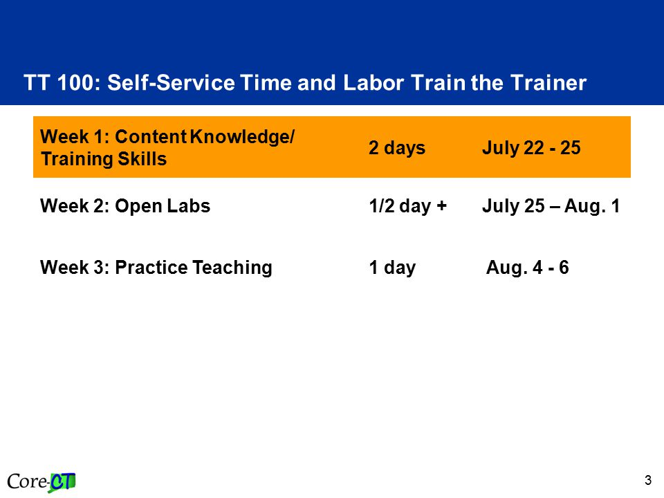 3 TT 100: Self-Service Time and Labor Train the Trainer Week 1: Content Knowledge/ Training Skills 2 days July 22 - 25 Week 2: Open Labs1/2 day + July