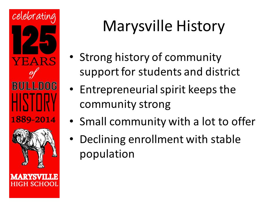 Marysville History Strong history of community support for students and district Entrepreneurial spirit keeps the community strong Small community with a lot to offer Declining enrollment with stable population