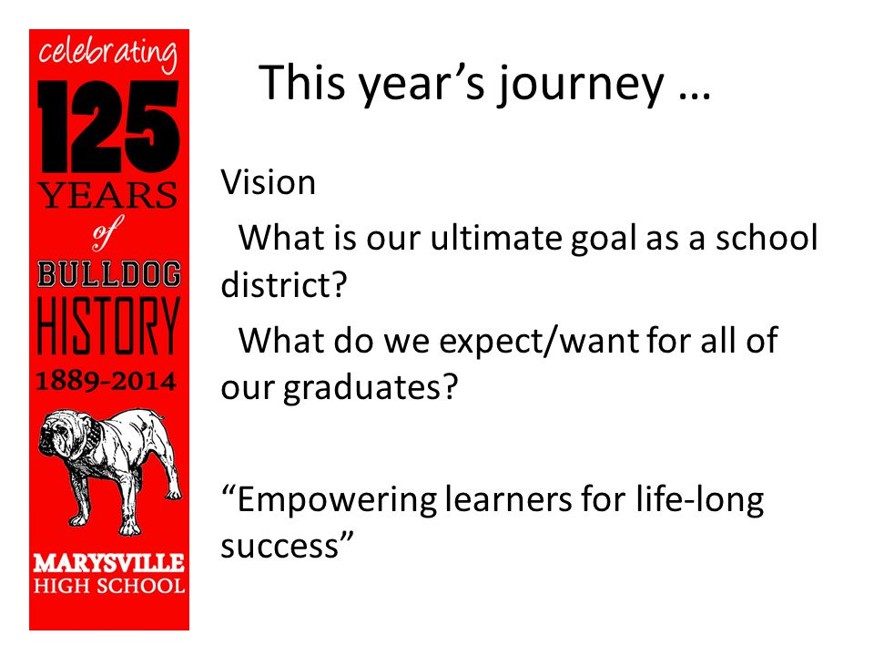 This year's journey … Vision What is our ultimate goal as a school district.