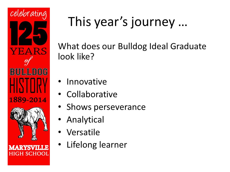 This year's journey … What does our Bulldog Ideal Graduate look like.