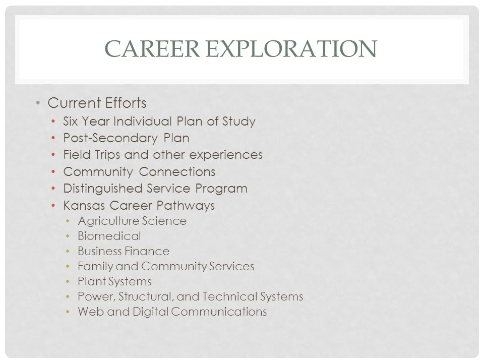 CAREER EXPLORATION Current Efforts Six Year Individual Plan of Study Post-Secondary Plan Field Trips and other experiences Community Connections Distinguished Service Program Kansas Career Pathways Agriculture Science Biomedical Business Finance Family and Community Services Plant Systems Power, Structural, and Technical Systems Web and Digital Communications