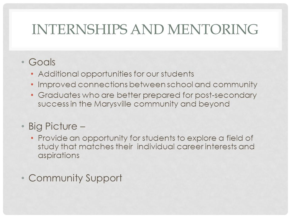 INTERNSHIPS AND MENTORING Goals Additional opportunities for our students Improved connections between school and community Graduates who are better prepared for post-secondary success in the Marysville community and beyond Big Picture – Provide an opportunity for students to explore a field of study that matches their individual career interests and aspirations Community Support