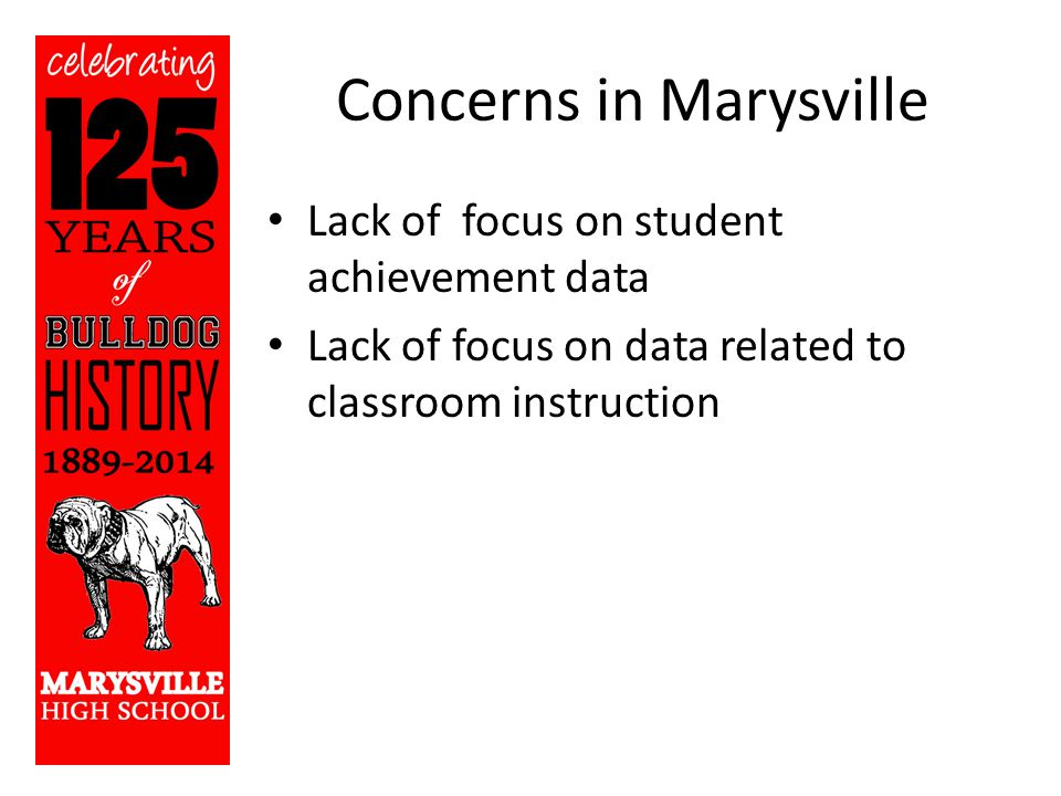 Concerns in Marysville Lack of focus on student achievement data Lack of focus on data related to classroom instruction