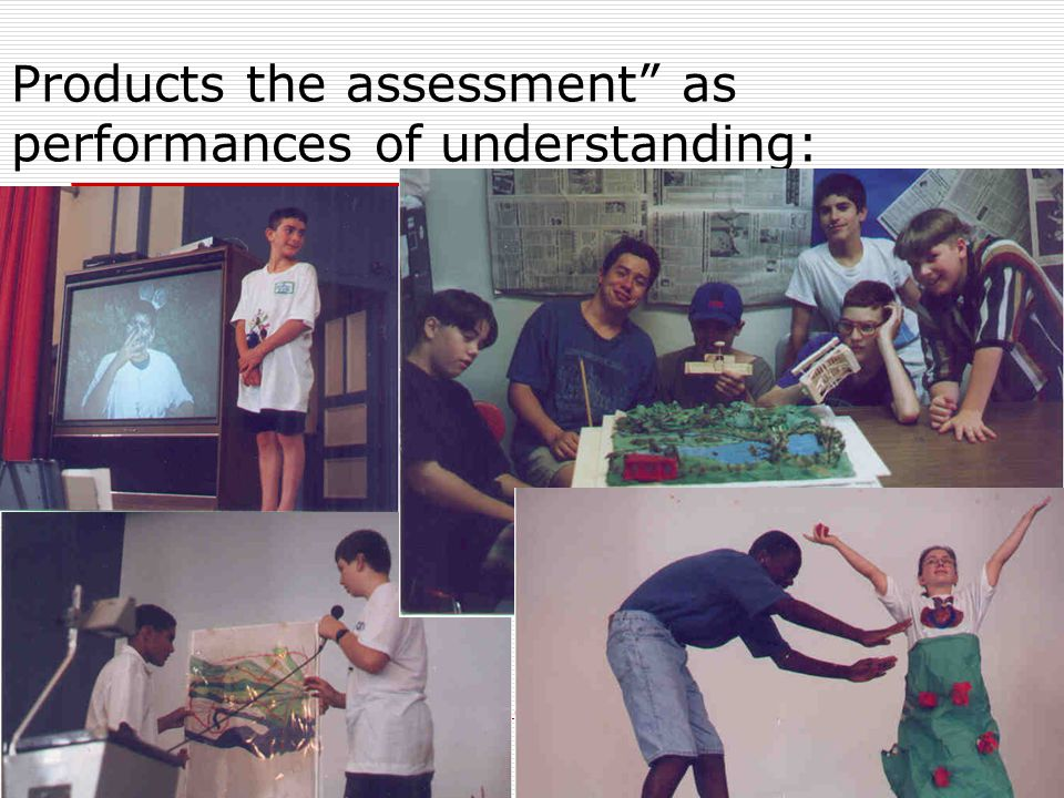 """Products the assessment"""" as performances of understanding:"""