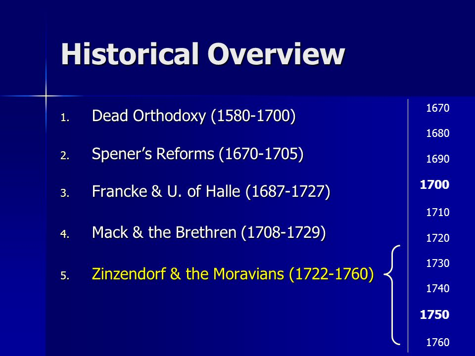 Historical Overview 1. Dead Orthodoxy (1580-1700) 2.