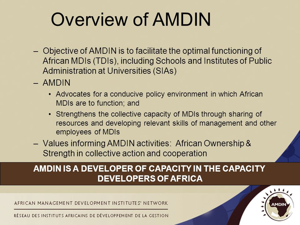 Overview of AMDIN –Objective of AMDIN is to facilitate the optimal functioning of African MDIs (TDIs), including Schools and Institutes of Public Admi