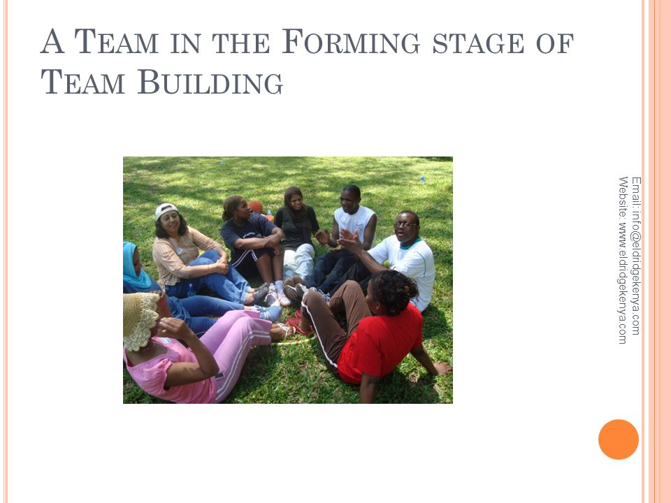 A T EAM IN THE F ORMING STAGE OF T EAM B UILDING Email: info@eldridgekenya.com Website: www.eldridgekenya.com