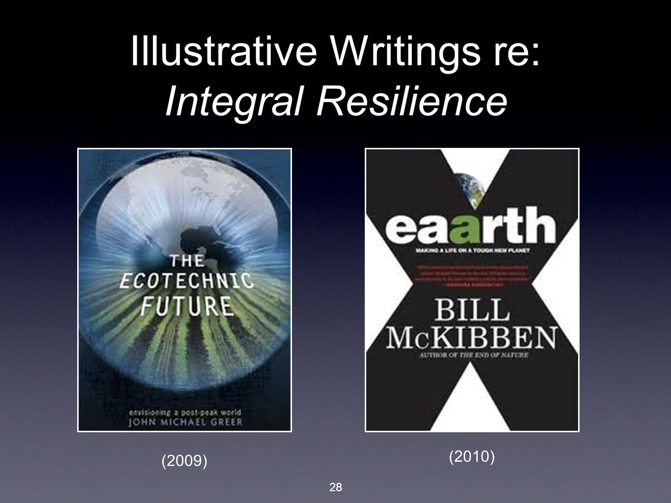 28 Illustrative Writings re: Integral Resilience (2009) (2010)
