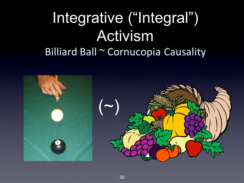 32 Integrative ( Integral ) Activism Billiard Ball ~ Cornucopia Causality (~)