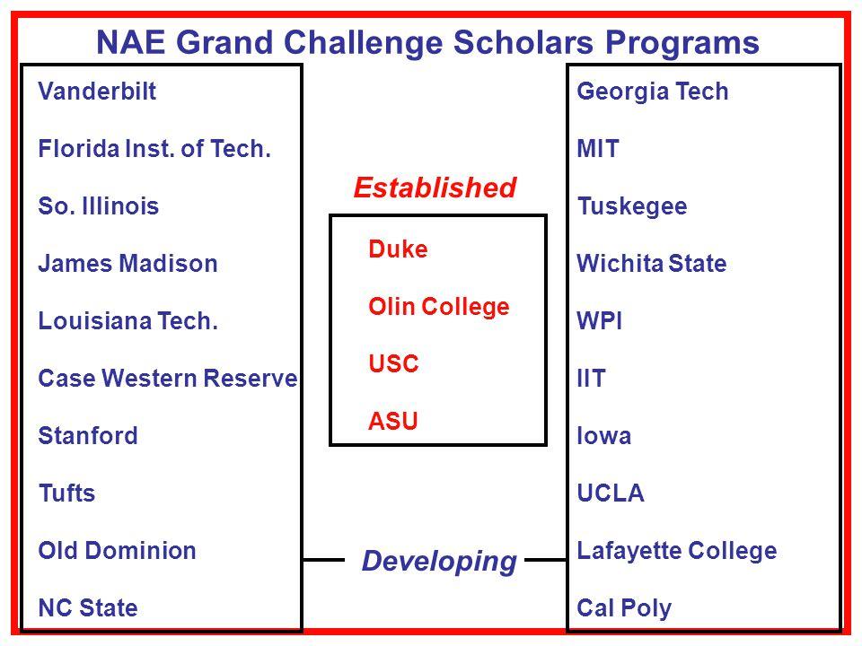 NAE Grand Challenge Scholars Programs Vanderbilt Florida Inst.