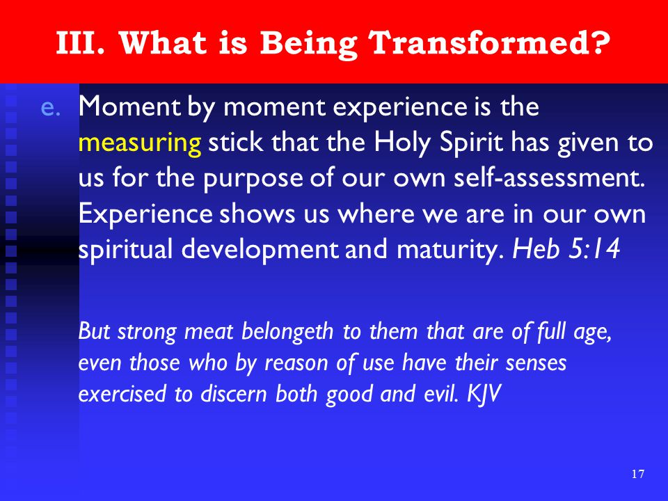 17 III. What is Being Transformed.