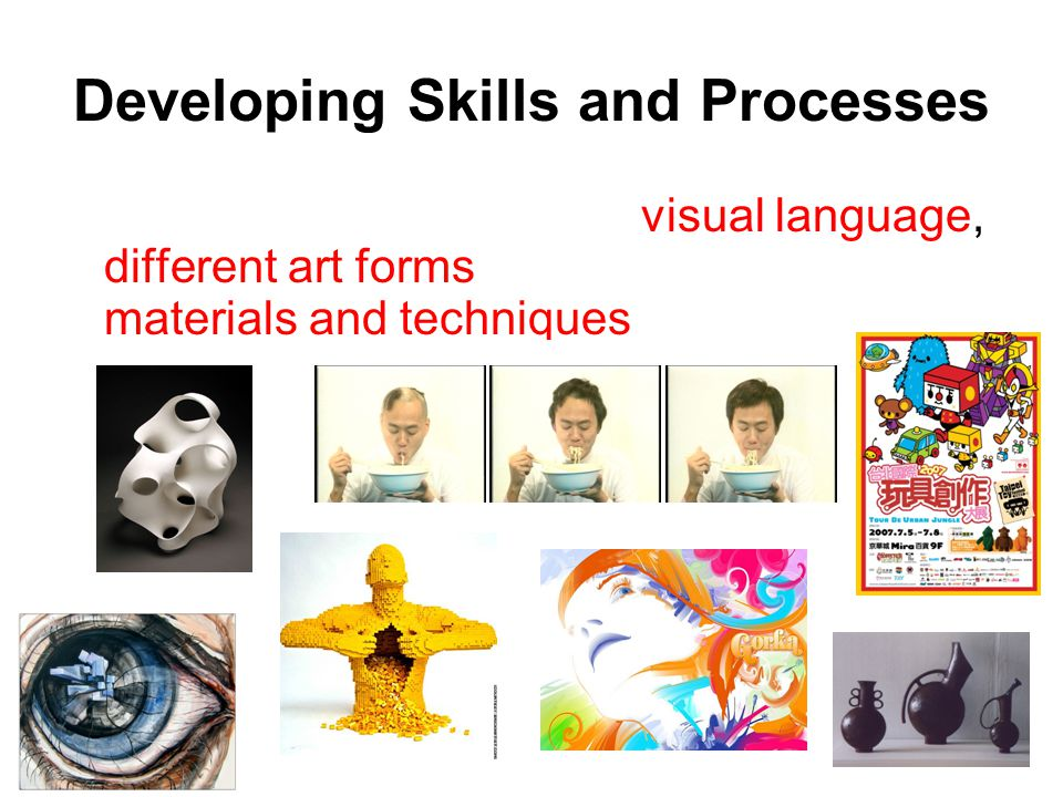 Students will learn to use visual language, different art forms and a variety of materials and techniques for art making. They will develop their skil
