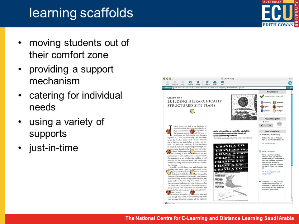 The National Centre for E-Learning and Distance Learning Saudi Arabia learning scaffolds moving students out of their comfort zone providing a support mechanism catering for individual needs using a variety of supports just-in-time