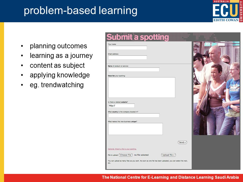 The National Centre for E-Learning and Distance Learning Saudi Arabia problem-based learning planning outcomes learning as a journey content as subject applying knowledge eg.