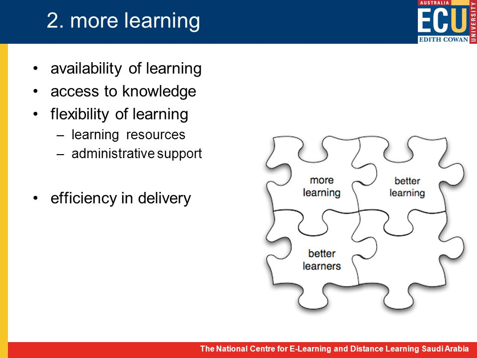 The National Centre for E-Learning and Distance Learning Saudi Arabia 2. more learning availability of learning access to knowledge flexibility of lea