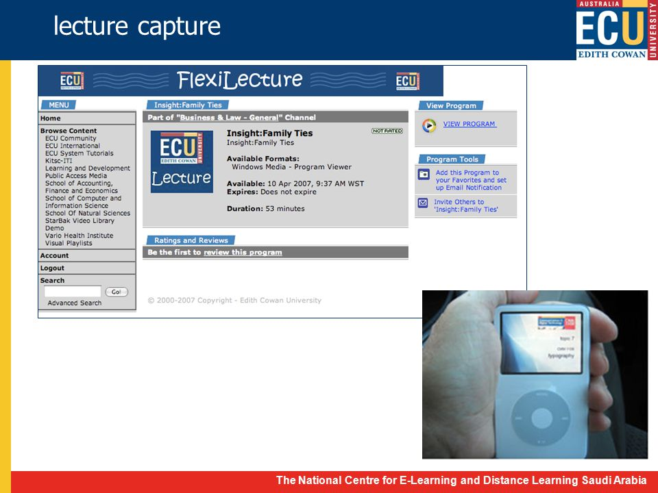 The National Centre for E-Learning and Distance Learning Saudi Arabia lecture capture
