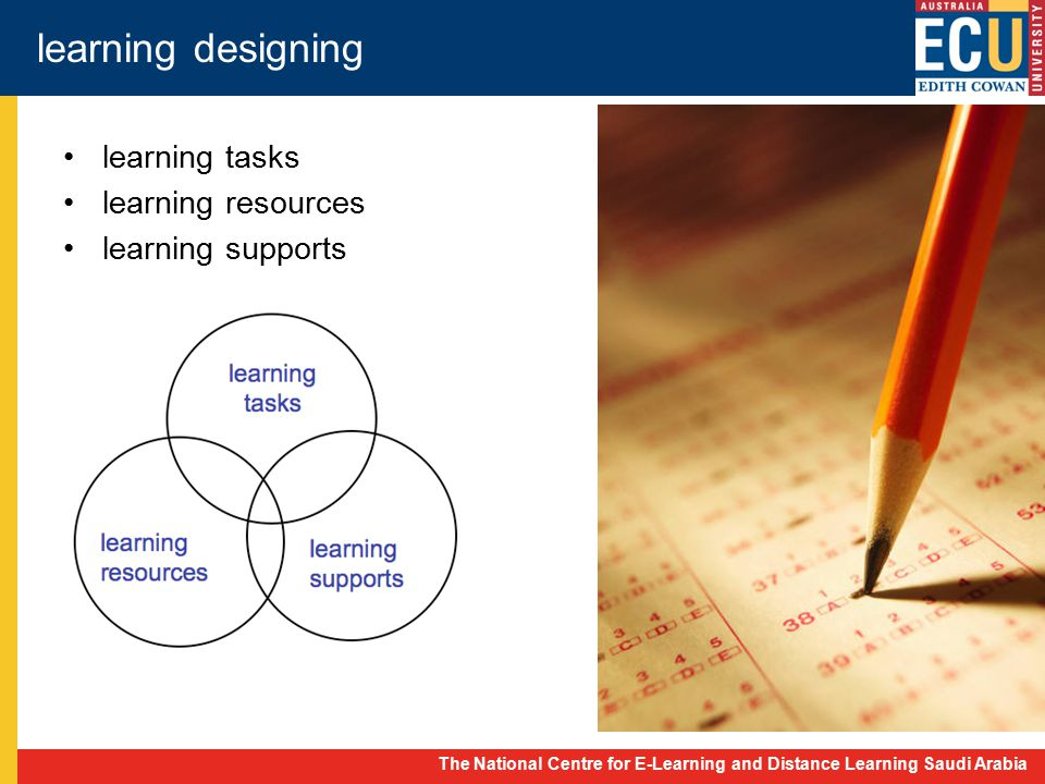 The National Centre for E-Learning and Distance Learning Saudi Arabia learning designing learning tasks learning resources learning supports