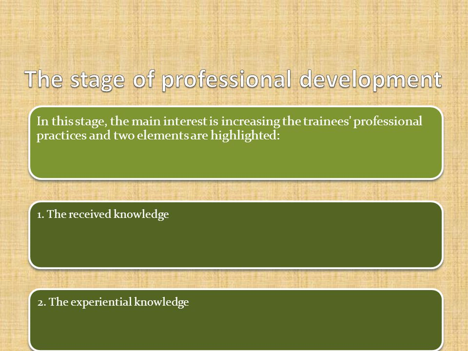 In this stage, the main interest is increasing the trainees professional practices and two elements are highlighted: 1.