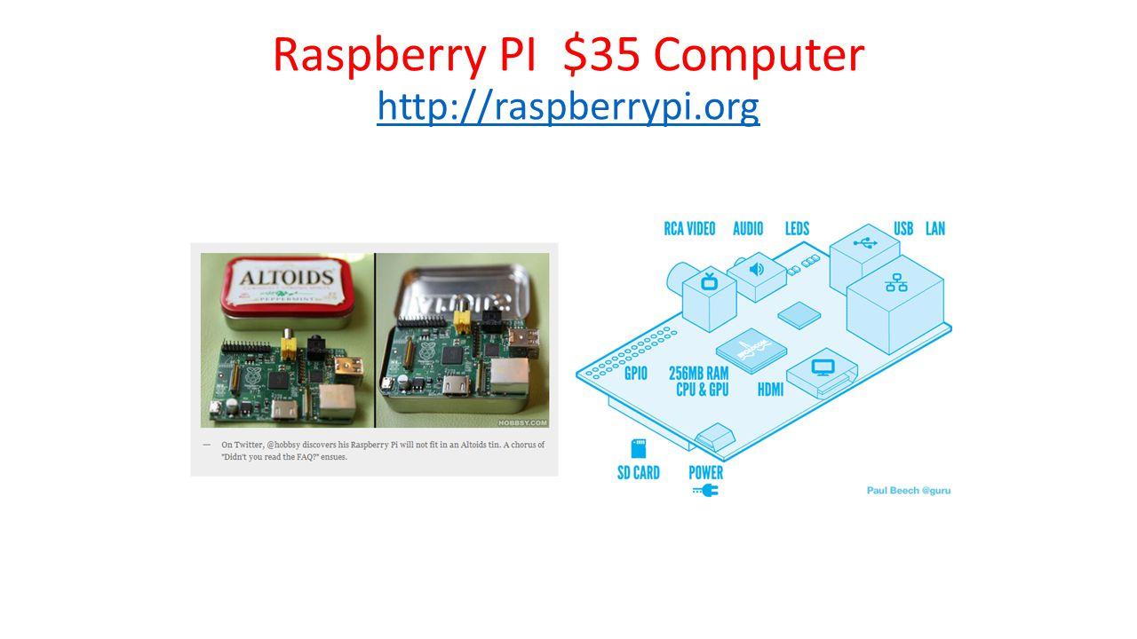Raspberry PI $35 Computer http://raspberrypi.org http://raspberrypi.org