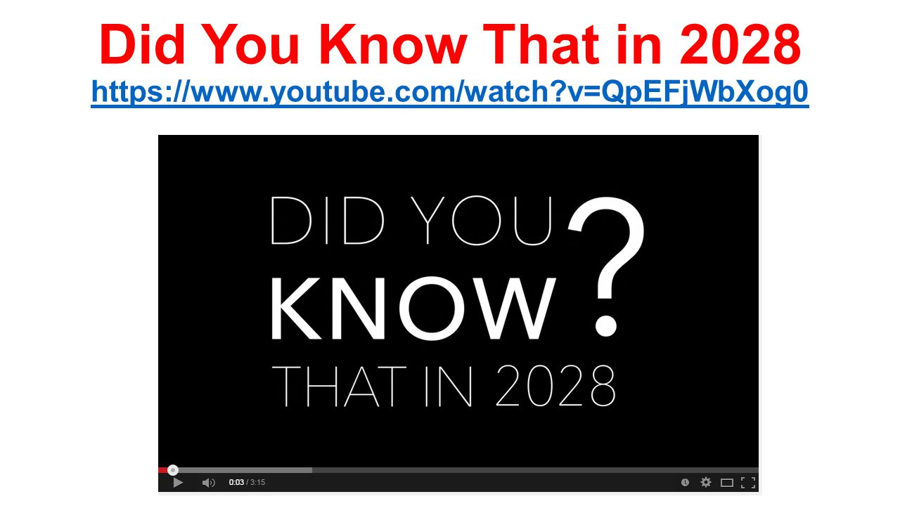 Did You Know That in 2028 https://www.youtube.com/watch v=QpEFjWbXog0 https://www.youtube.com/watch v=QpEFjWbXog0