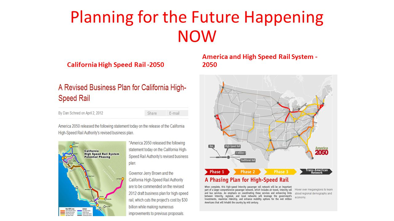 Planning for the Future Happening NOW California High Speed Rail -2050 America and High Speed Rail System - 2050