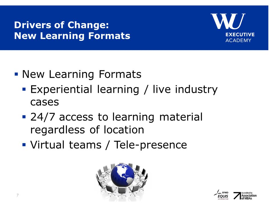 7 Drivers of Change: New Learning Formats  New Learning Formats  Experiential learning / live industry cases  24/7 access to learning material rega