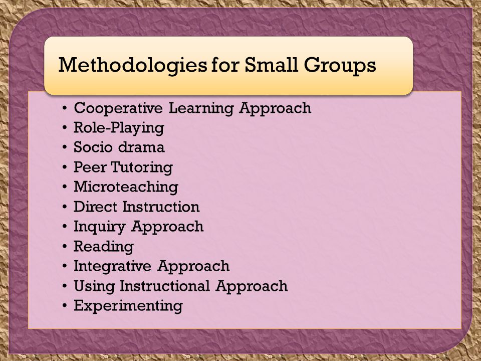 Cooperative Learning Approach Role-Playing Socio drama Peer Tutoring Microteaching Direct Instruction Inquiry Approach Reading Integrative Approach Using Instructional Approach Experimenting Methodologies for Small Groups