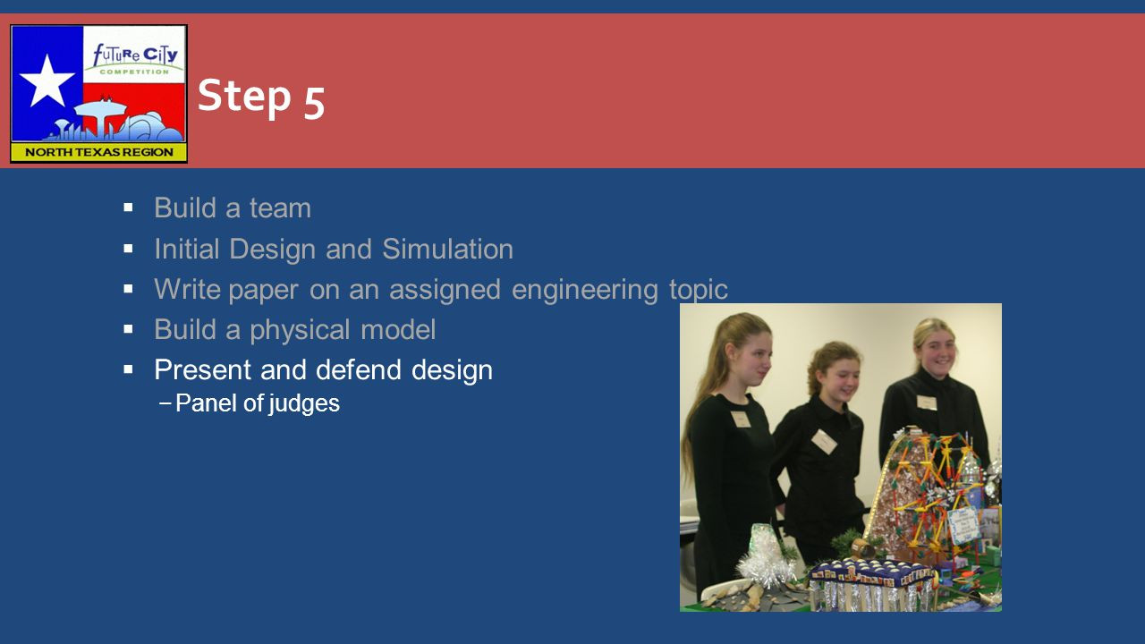 Step 5  Build a team  Initial Design and Simulation  Write paper on an assigned engineering topic  Build a physical model  Present and defend design −Panel of judges