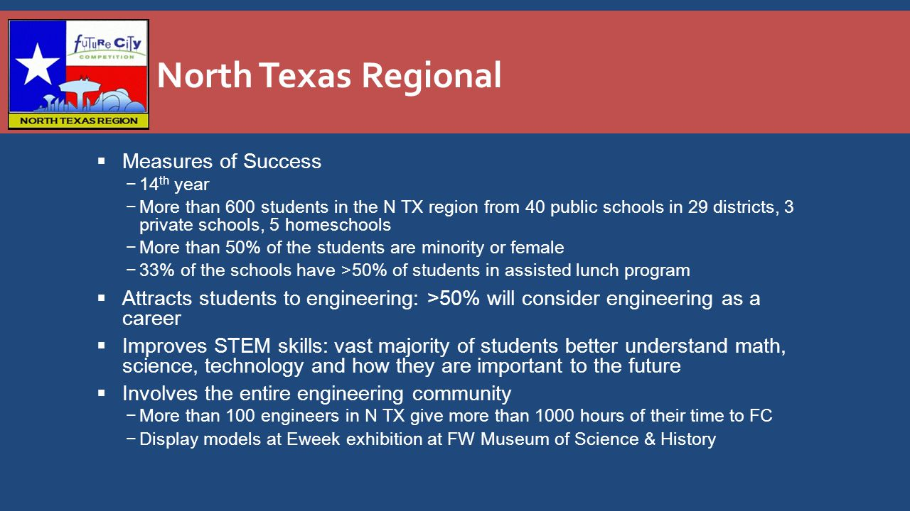 North Texas Regional  Measures of Success −14 th year −More than 600 students in the N TX region from 40 public schools in 29 districts, 3 private schools, 5 homeschools −More than 50% of the students are minority or female −33% of the schools have >50% of students in assisted lunch program  Attracts students to engineering: >50% will consider engineering as a career  Improves STEM skills: vast majority of students better understand math, science, technology and how they are important to the future  Involves the entire engineering community −More than 100 engineers in N TX give more than 1000 hours of their time to FC −Display models at Eweek exhibition at FW Museum of Science & History