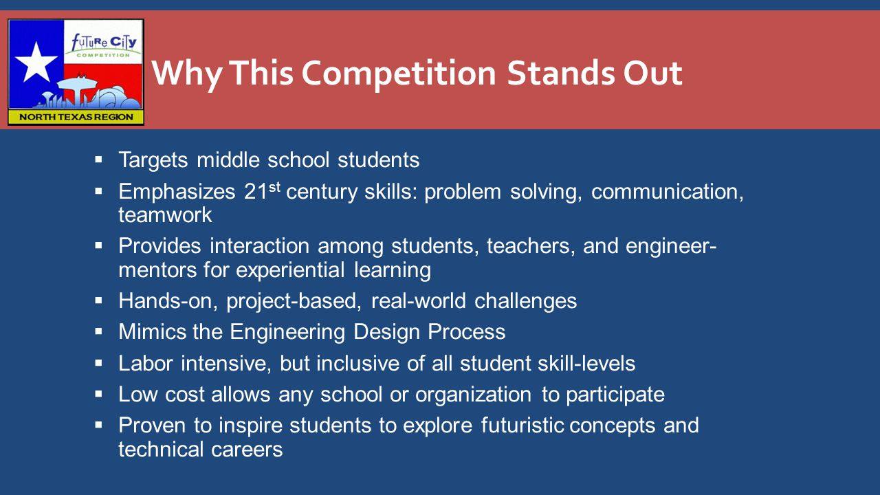 Why This Competition Stands Out  Targets middle school students  Emphasizes 21 st century skills: problem solving, communication, teamwork  Provides interaction among students, teachers, and engineer- mentors for experiential learning  Hands-on, project-based, real-world challenges  Mimics the Engineering Design Process  Labor intensive, but inclusive of all student skill-levels  Low cost allows any school or organization to participate  Proven to inspire students to explore futuristic concepts and technical careers