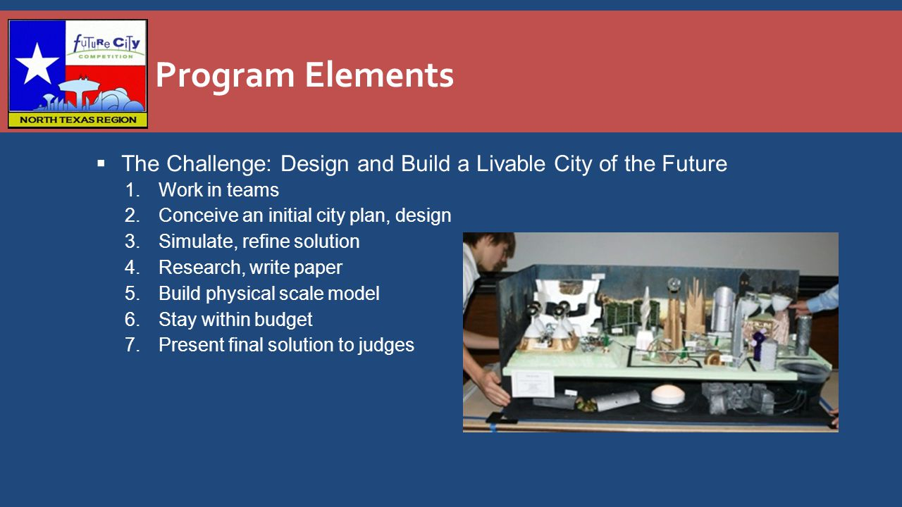 Program Elements  The Challenge: Design and Build a Livable City of the Future 1.Work in teams 2.Conceive an initial city plan, design 3.Simulate, refine solution 4.Research, write paper 5.Build physical scale model 6.Stay within budget 7.Present final solution to judges