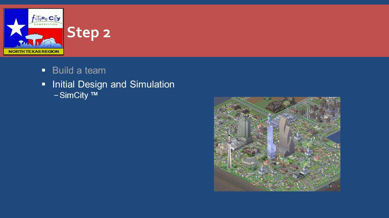 Step 2  Build a team  Initial Design and Simulation −SimCity ™
