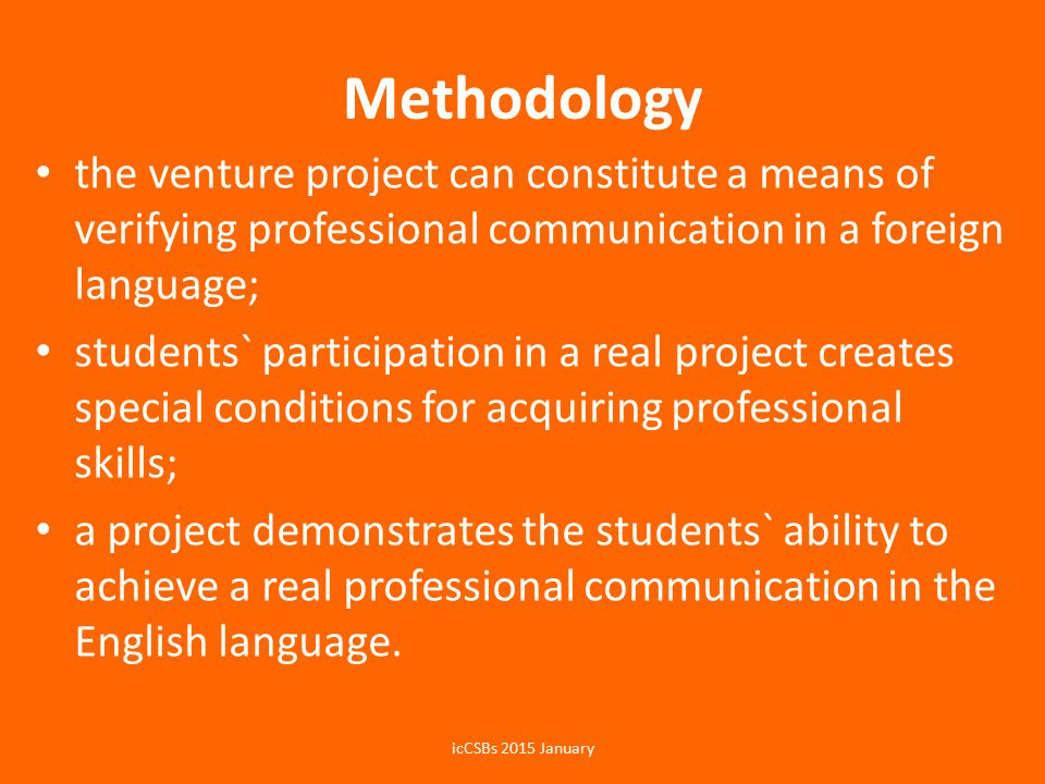 Results Findings of the analysis on teaching foreign language, determination of pedagogical techniques and principles, and the use of project technologies helped the authors develop an effective teaching methodology that ensures a high level of students` mastery using English in their professional communicative processes.