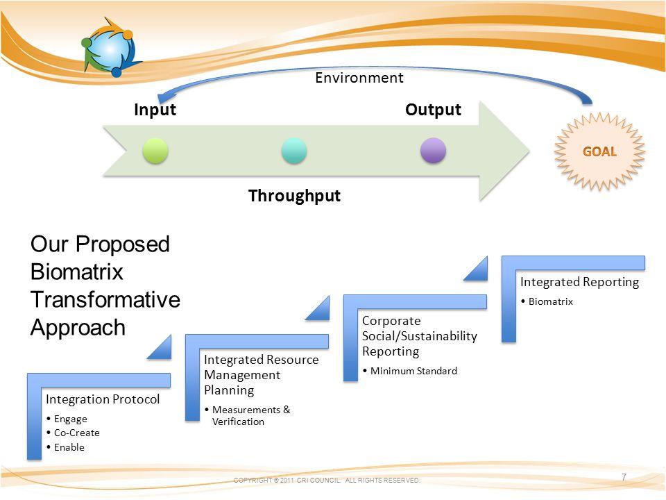 Our Proposed Biomatrix Transformative Approach COPYRIGHT © 2011 CRI COUNCIL.