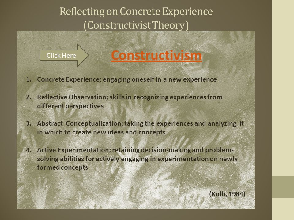 Reflecting on Concrete Experience (Constructivist Theory) Constructivism Click Here 1.Concrete Experience; engaging oneself in a new experience 2.Reflective Observation; skills in recognizing experiences from different perspectives 3.Abstract Conceptualization; taking the experiences and analyzing it in which to create new ideas and concepts 4.Active Experimentation; retaining decision-making and problem- solving abilities for actively engaging in experimentation on newly formed concepts (Kolb, 1984)