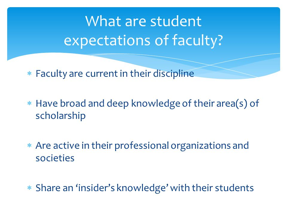  Faculty are current in their discipline  Have broad and deep knowledge of their area(s) of scholarship  Are active in their professional organizations and societies  Share an 'insider's knowledge' with their students What are student expectations of faculty