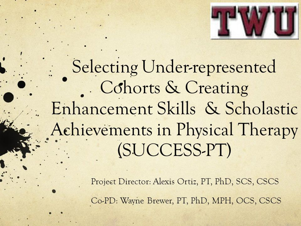 Selecting Under-represented Cohorts & Creating Enhancement Skills & Scholastic Achievements in Physical Therapy (SUCCESS-PT) Project Director: Alexis Ortiz, PT, PhD, SCS, CSCS Co-PD: Wayne Brewer, PT, PhD, MPH, OCS, CSCS