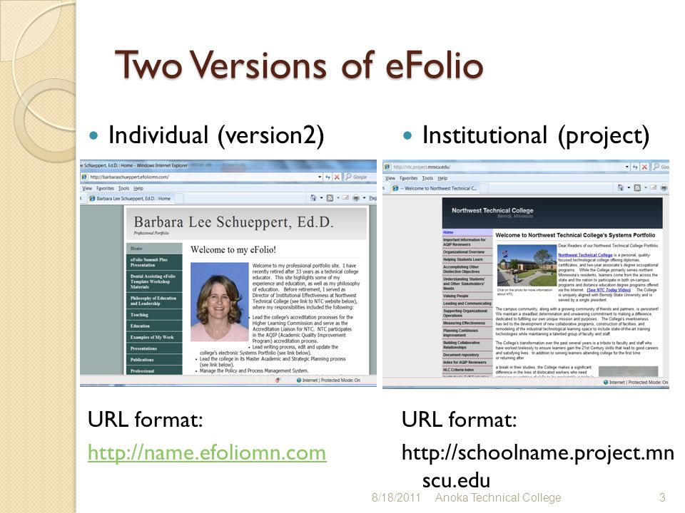 How do institutions use eFolio.