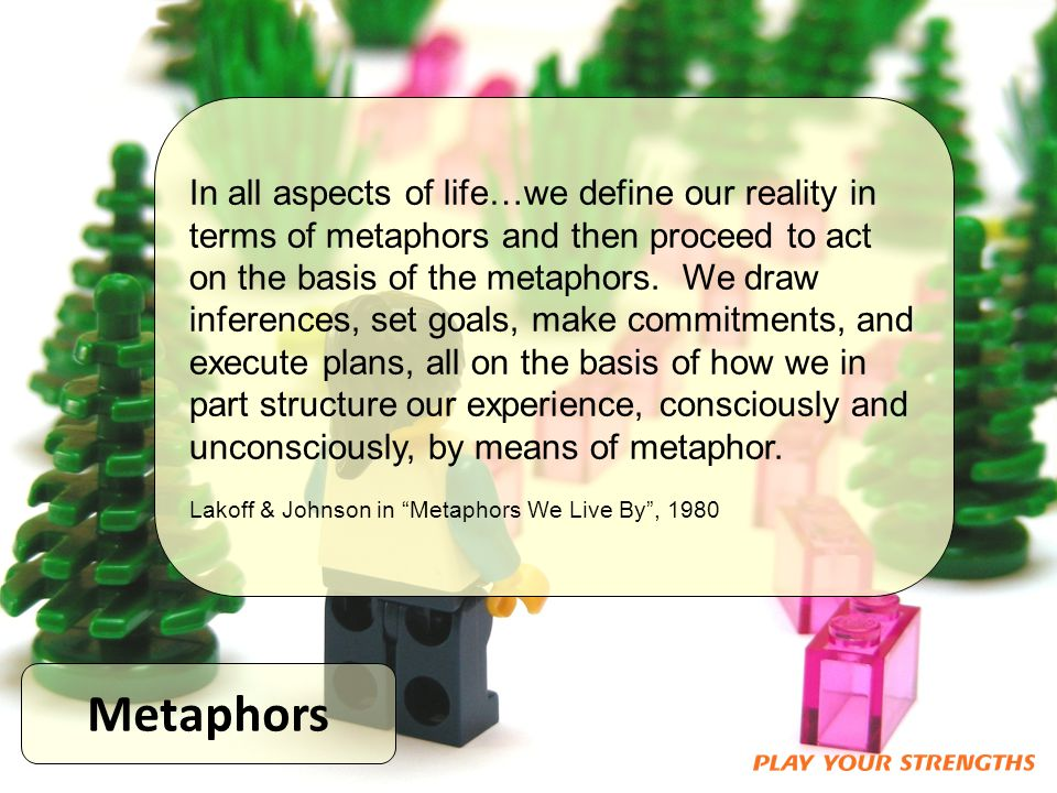 Metaphors In all aspects of life…we define our reality in terms of metaphors and then proceed to act on the basis of the metaphors.