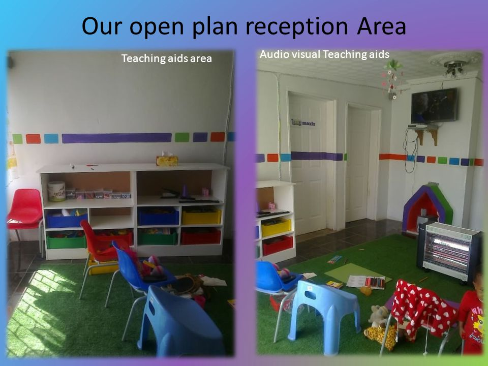 Our open plan reception Area Teaching aids area Audio visual Teaching aids