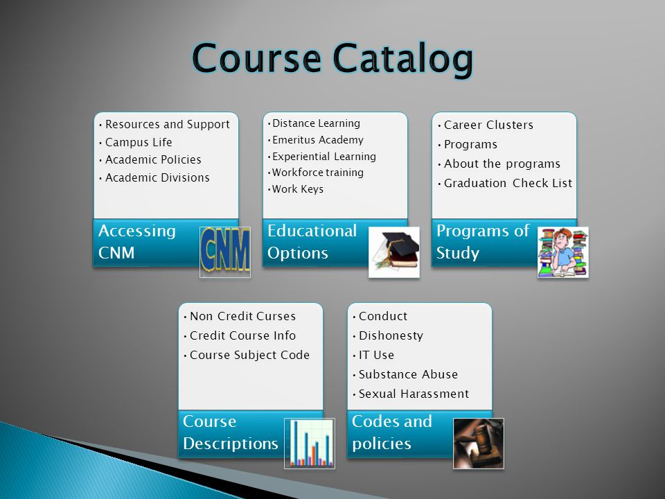 Resources and Support Campus Life Academic Policies Academic Divisions Accessing CNM Distance Learning Emeritus Academy Experiential Learning Workforc
