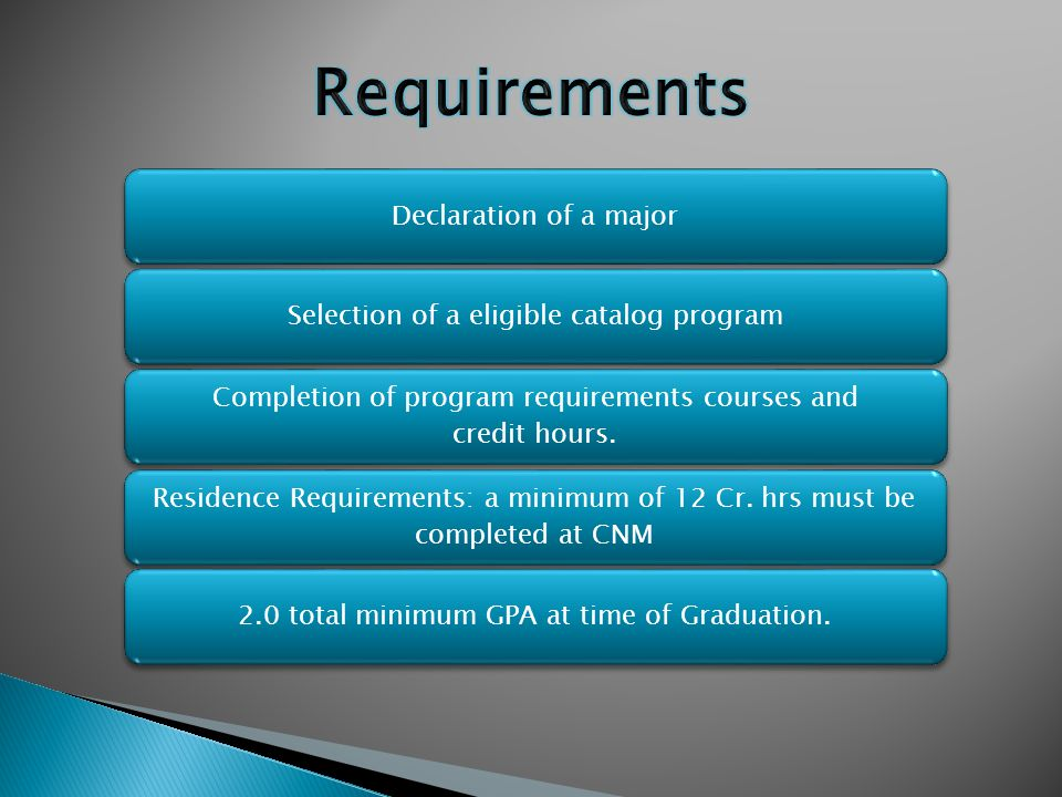 Declaration of a majorSelection of a eligible catalog program Completion of program requirements courses and credit hours. Residence Requirements: a m