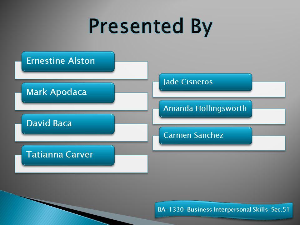 Ernestine AlstonMark ApodacaDavid BacaTatianna Carver Jade CisnerosAmanda HollingsworthCarmen Sanchez BA-1330-Business Interpersonal Skills-Sec.51