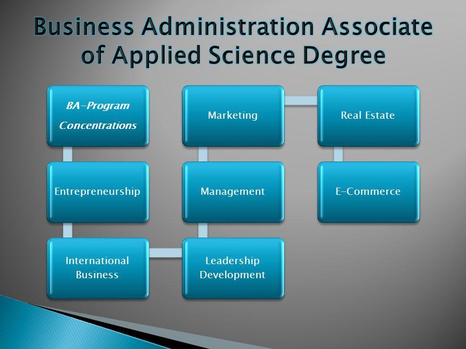 BA-Program Concentrations Entrepreneurship International Business Leadership Development ManagementMarketingReal EstateE-Commerce