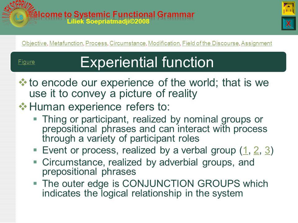 LS Liliek Soepriatmadji©2008 Exi P and participant roles  Existential processes construe the existence of a sole participant.