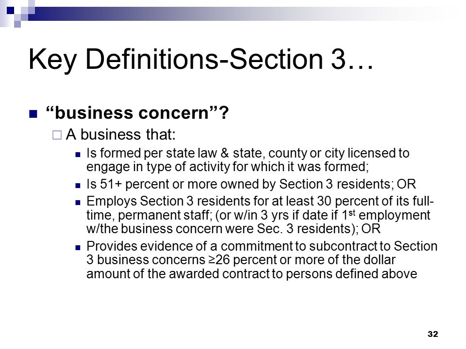 32 Key Definitions-Section 3… business concern .